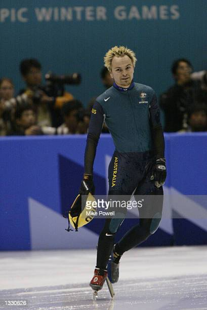 Steven Bradbury of Australia looks on after competing in the men's 500m speed skating heats during the Salt Lake City Winter Olympic Games on...