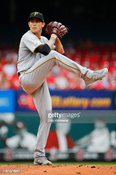 Steven Brault of the Pittsburgh Pirates delivers a pitch against the St. Louis Cardinals in the first inning at Busch Stadium on August 11, 2019 in...