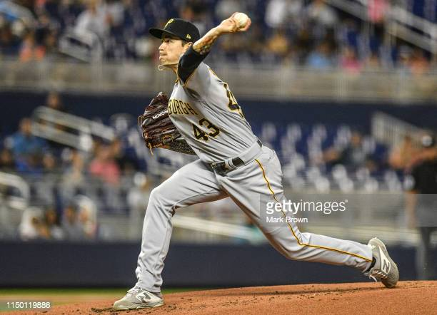 Steven Brault of the Pittsburgh Pirates delivers a pitch in the second inning against the Miami Marlins at Marlins Park on June 14, 2019 in Miami,...