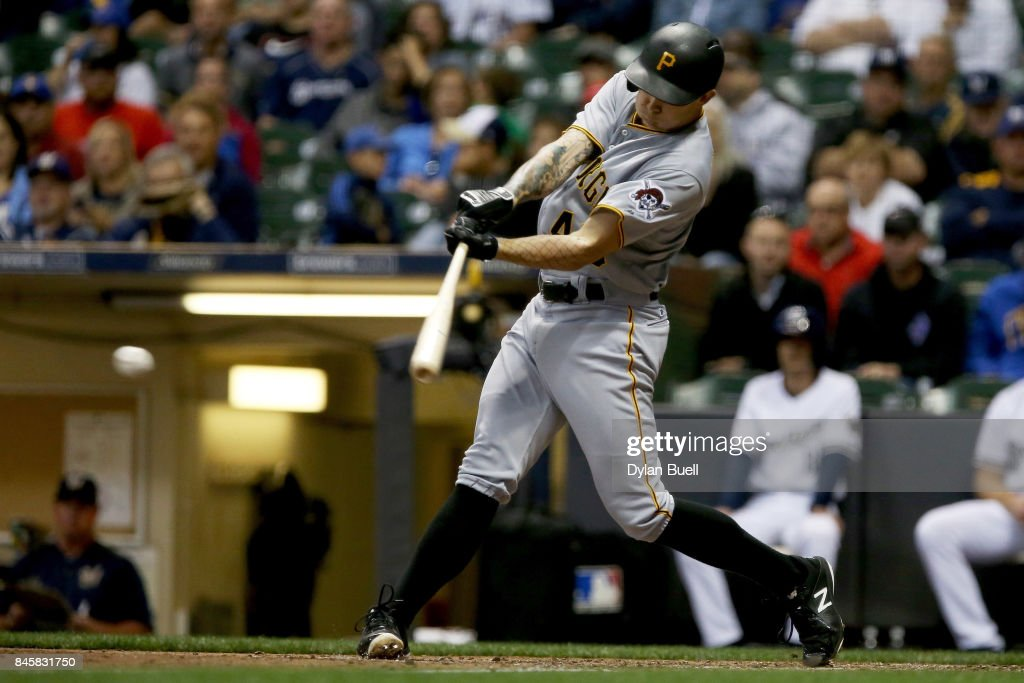 Steven Brault #43 of the Pittsburgh Pirates hits a single in the sixth inning against the Milwaukee Brewers at Miller Park on September 11, 2017 in Milwaukee, Wisconsin.