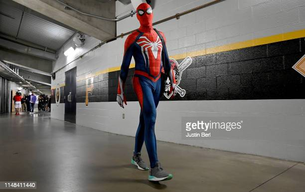 Steven Brault of the Pittsburgh Pirates leaves the ballpark dressed as Spider-Man after the game against the Atlanta Braves at PNC Park on June 6,...