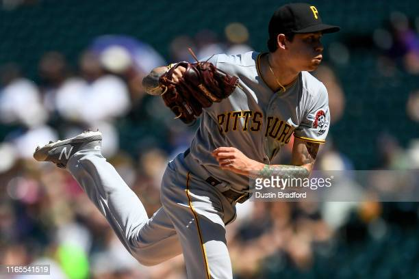 Steven Brault of the Pittsburgh Pirates pitches against the Colorado Rockies at Coors Field on September 1, 2019 in Denver, Colorado.