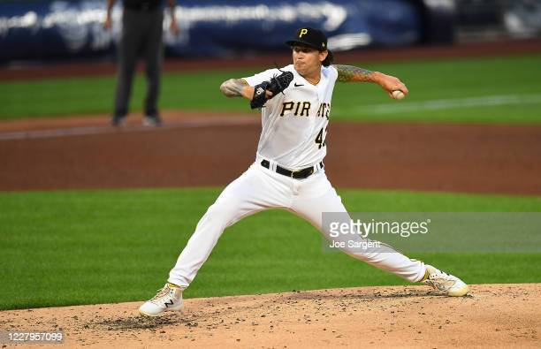 Steven Brault of the Pittsburgh Pirates pitches during the fifth inning against he Detroit Tigers at PNC Park on August 7, 2020 in Pittsburgh,...
