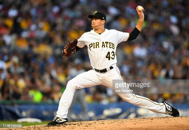 Steven Brault of the Pittsburgh Pirates pitches during the second inning against the Los Angeles Dodgers at PNC Park on May 24, 2019 in Pittsburgh,...