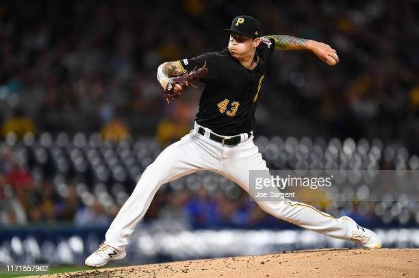 Steven Brault of the Pittsburgh Pirates pitches during the second inning against the Cincinnati Reds at PNC Park on September 27, 2019 in Pittsburgh,...