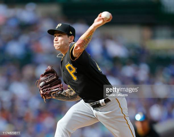 Steven Brault of the Pittsburgh Pirates pitches in the first inning during the game against the Chicago Cubs at Wrigley Field on September 13, 2019...
