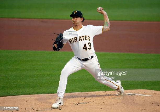 Steven Brault of the Pittsburgh Pirates pitches in the first inning against the Milwaukee Brewers during Opening Day at PNC Park on July 27, 2020 in...