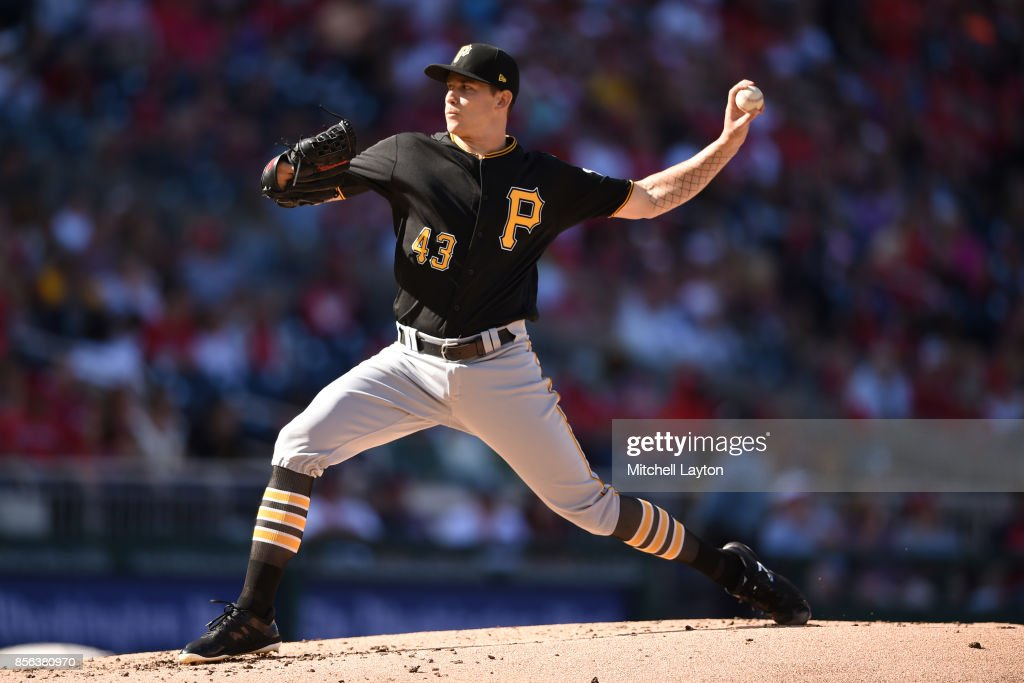 Steven Brault #43 of the Pittsburgh Pirates pitches in the first inning during a baseball game against the Washington Nationals at Nationals Park on October 1, 2017 in Washington, DC.