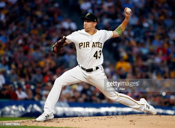 Steven Brault of the Pittsburgh Pirates pitches in the second inning against the St. Louis Cardinals at PNC Park on September 7, 2019 in Pittsburgh,...