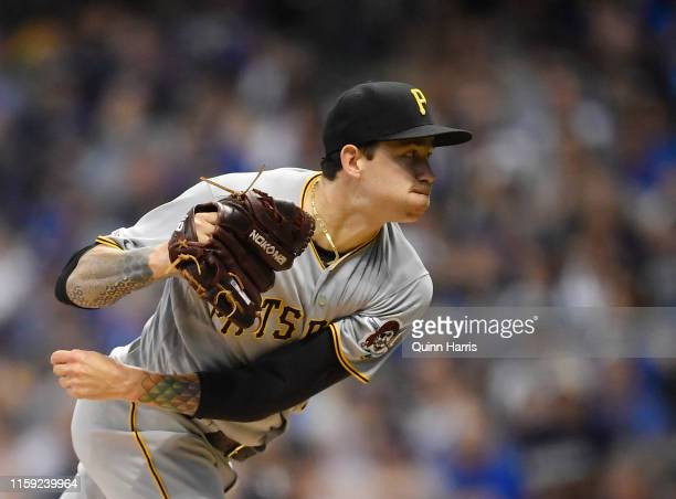 Steven Brault of the Pittsburgh Pirates pitches the ball in the first inning against the Milwaukee Brewers at Miller Park on June 30, 2019 in...