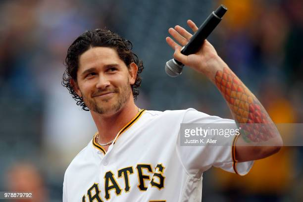 Steven Brault of the Pittsburgh Pirates sings the National Anthem before the game against the Milwaukee Brewers at PNC Park on June 19, 2018 in...