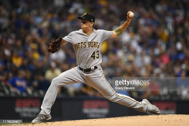 Steven Brault of the Pittsburgh Pirates throws a pitch during the first inning against the Milwaukee Brewers at Miller Park on September 20, 2019 in...
