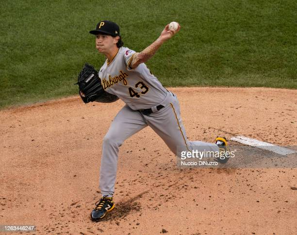 Steven Brault of the Pittsburgh Pirates throws a pitch during the first inning of a game against the Chicago Cubs at Wrigley Field on August 02, 2020...