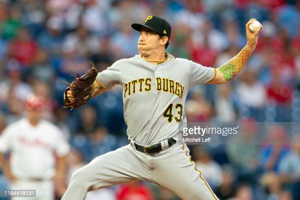 Steven Brault of the Pittsburgh Pirates throws a pitch in the bottom of the first inning against the Philadelphia Phillies at Citizens Bank Park on...