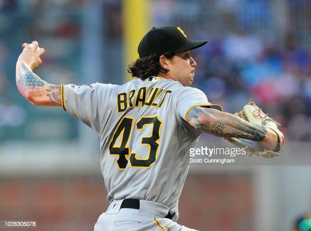 Steven Brault of the Pittsburgh Pirates throws an eighth inning pitch against the Atlanta Braves at SunTrust Park on September 2, 2018 in Atlanta,...