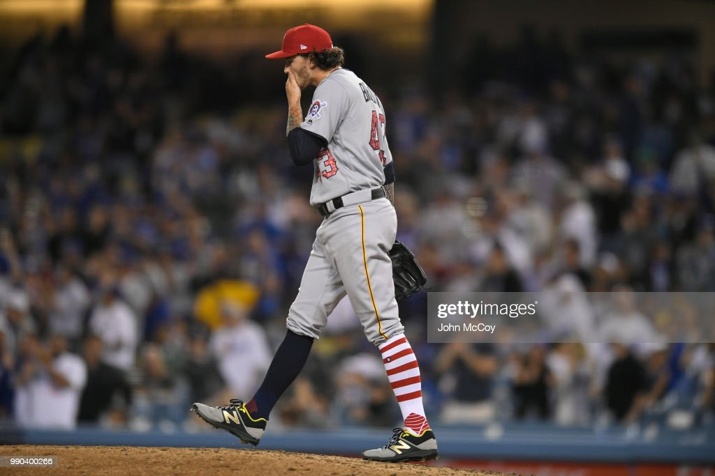 Steven Brault #43 of the Pittsburgh Pirates walks back to the mound after giving up a three run home run to Matt Kemp #27 of the Los Angeles Dodgers in the sixth inning at Dodger Stadium on July 2, 2018 in Los Angeles, California.