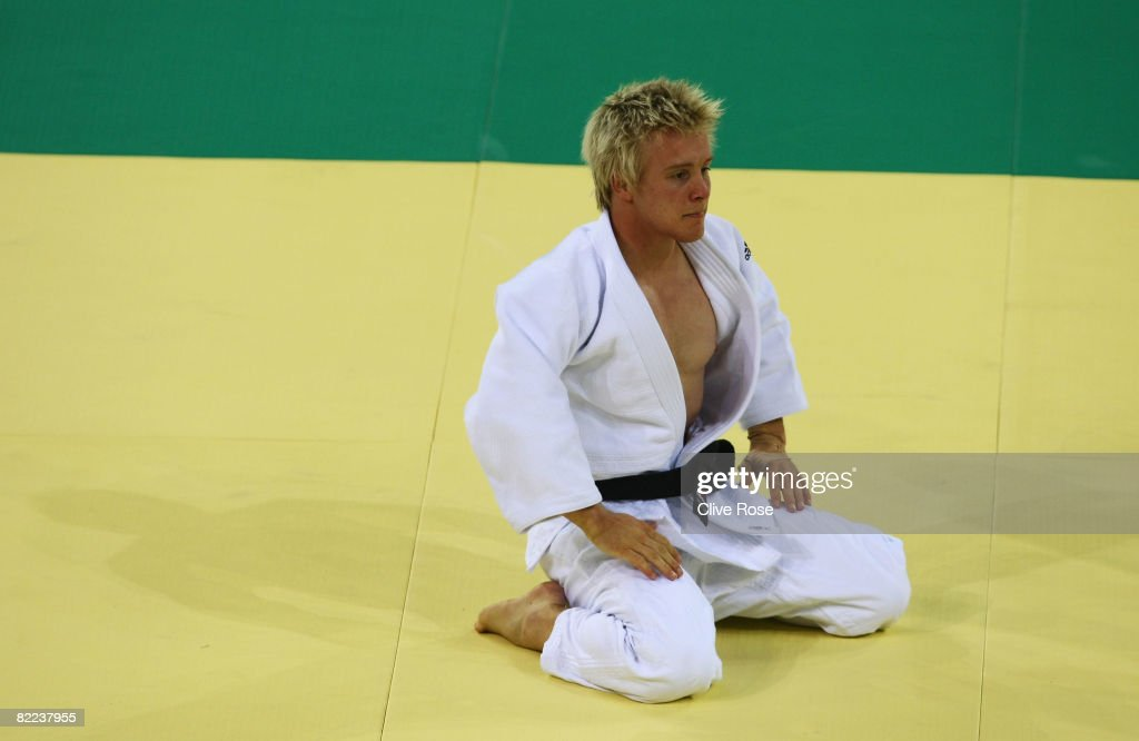 Steven Brown of Australia looks on after competing with Mounir Benamadi of Algeria in the Men's -66 kg Preliminary contest during day 2 of the Beijing 2008 Olympic Games at the University of Science and Technology Beijing Gymnasium on August 10, 2008 in Beijing, China.