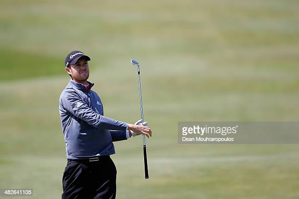 Steven Brown of England hits his second shot on the 9th hole during day two of the NH Collection Open held at La Reserva de Sotogrande Club de Golf...