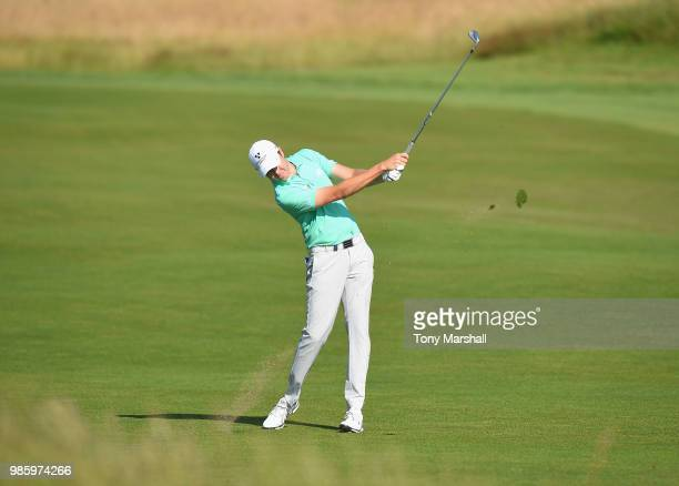 Steven Brown of England plays his second shot on the 10th fairway during Day One of the HNA Open de France at Le Golf National on June 28 2018 in...