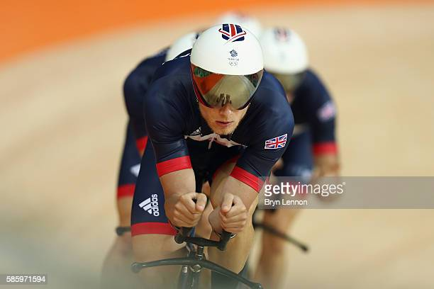 Steven Burke of Great Britain and Team GB leads the team pursuit riders during training at the Rio Olympic Velodrome on August 4 2016 in Rio de...