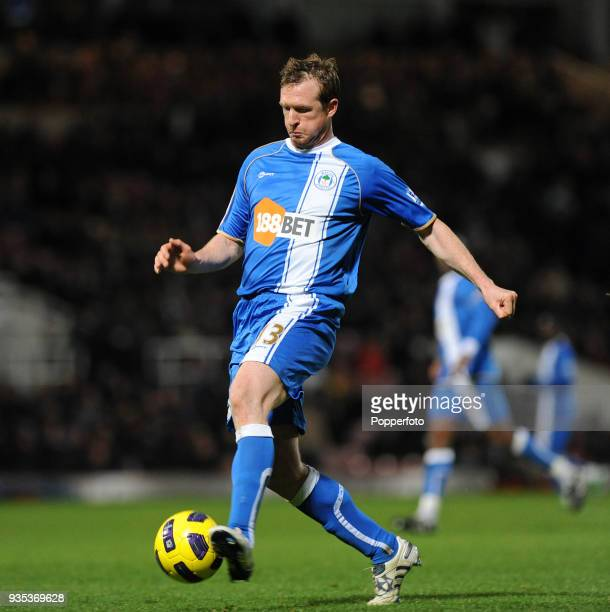 Steven Caldwell of Wigan Athletic in action during the Barclays Premier League match between West Ham United and Wigan Athletic at Boleyn Ground in...