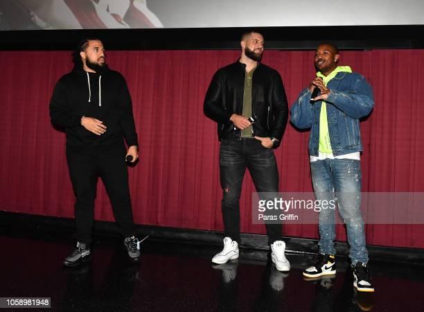 Steven Caple Jr Florian Munteanu and Michael B Jordan speaks onstage during Creed 2 Atlanta screening at Regal Atlantic Station on November 7 2018 in...