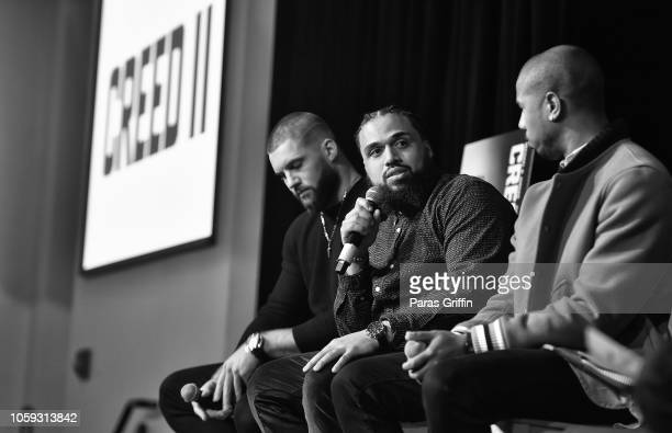 Steven Caple Jr speaks onstage during the Creed 2 Clark Atlanta University Student Forum at Clark Atlanta University on November 8 2018 in Atlanta...
