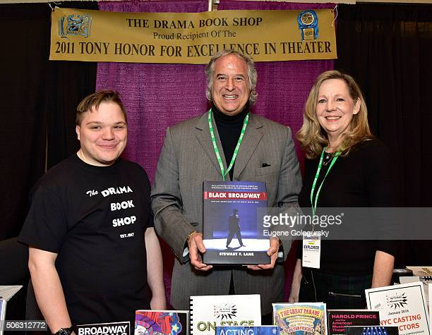 """Steven Carl McCasland, Stewart F. Lane, and Annie Chadwick attend the Stewart F. Lane Book Signing Of """"Black Broadway"""" At BroadwayCon at New York..."""