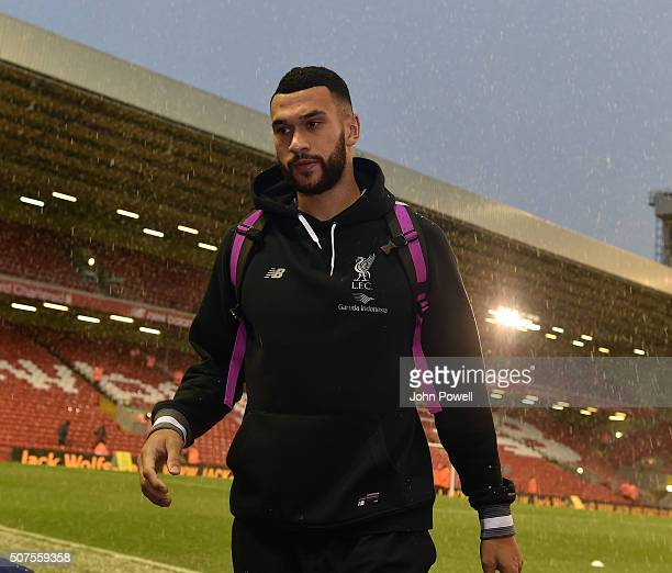 Steven Caulker of Liverpool arrives before the The Emirates FA Cup Fourth Round between Liverpool and West Ham United at Anfield on January 30 2016...