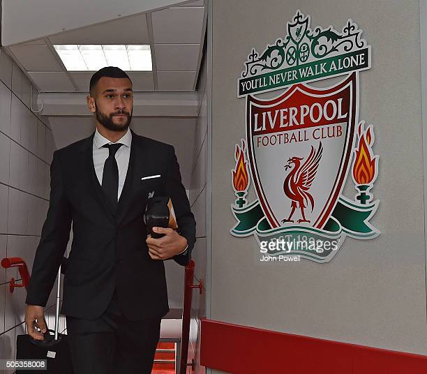 Steven Caulker of Liverpool arrives during the Barclays Premier League match between Liverpool and Manchester United at Anfield on January 17 2016 in...