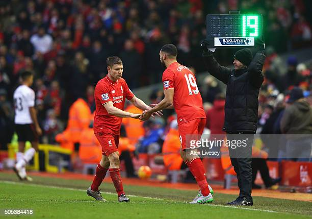 Steven Caulker of Liverpool comes on for James Milner of Liverpool during the Barclays Premier League match between Liverpool and Manchester United...