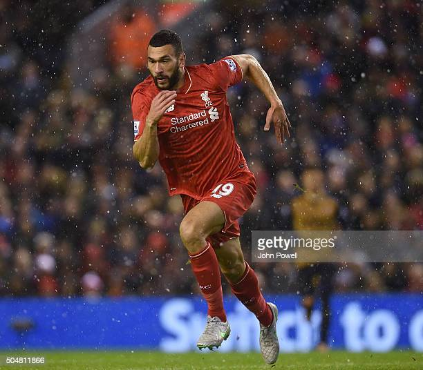 Steven Caulker of Liverpool during the Barclays Premier League match between Liverpool and Arsenal at Anfield on January 13 2016 in Liverpool England