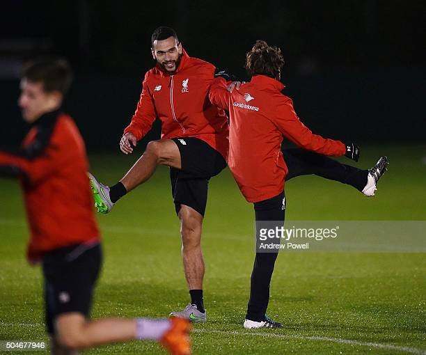 Steven Caulker of Liverpool in action during a training session at Melwood Training Ground on January 12 2016 in Liverpool England