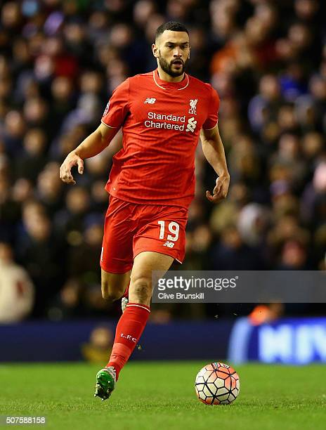 Steven Caulker of Liverpool in action during The Emirates FA Cup Fourth Round match between Liverpool and West Ham United at Anfield on January 30...
