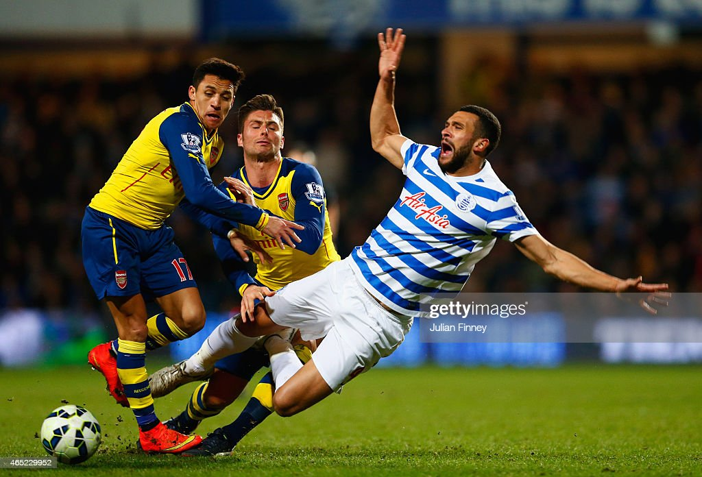 Steven Caulker of QPR is challenged by Alexis Sanchez and Olivier Giroud of Arsenal during the Barclays Premier League match between Queens Park Rangers and Arsenal at Loftus Road on March 4, 2015 in London, England.