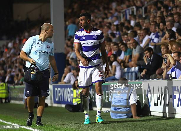 Steven Caulker of Queens Park Rangers leave the pitch injured during the Sky Bet Championship match between Queens Park Rangers and Newcastle United...