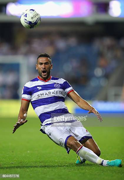 Steven Caulker of Queens Park Rangers reaches for the ball and shortly leaves the pitch injured during the Sky Bet Championship match between Queens...