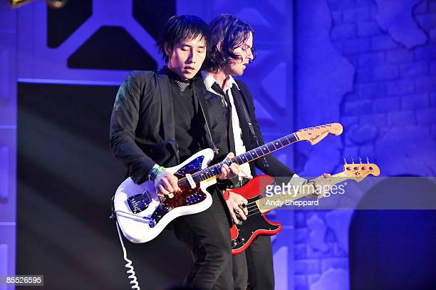 Steven Chen and Noah Harmon of Airborne Toxic Event perform on stage at the Bat Bar as part of the SXSW 2009 Music Festival on March 19 2009 in...