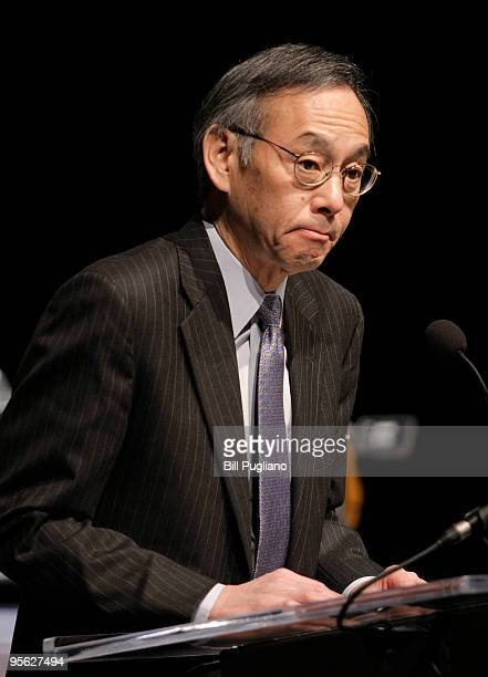 Steven Chu Secretary of the US Department of Energy speaks at an event where the first battery pack for the General Motors Chevrolet Volt...
