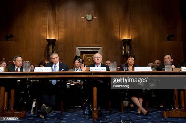 Steven Chu US energy secretary left to right Ray LaHood US transportation secretary Ken Salazar US secretary of the interior Lisa Jackson...