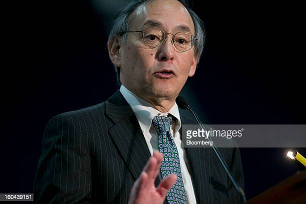 "Steven Chu US energy secretary speaks during an event at the Washington Auto Show in Washington DC US on Thursday Jan 31 2013 Chu said it ""remains to..."