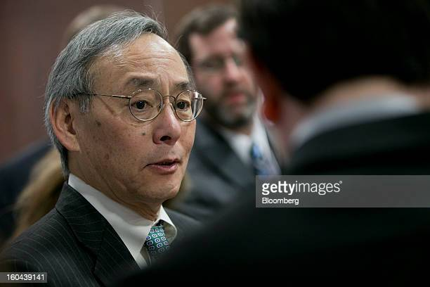 Steven Chu US energy secretary speaks to reporters following an event at the Washington Auto Show in Washington DC US on Thursday Jan 31 2013 Chu...