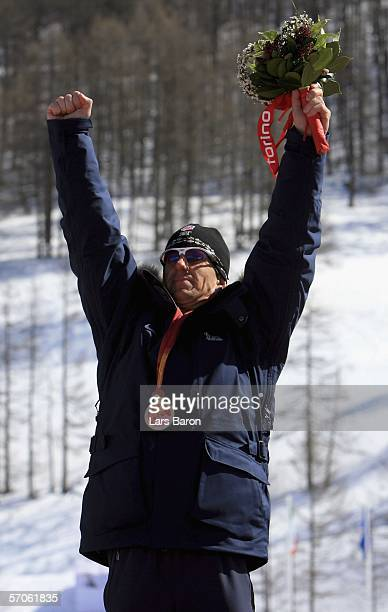 Steven Cook of USA celebrates winning the Men's 5KM Standing Cross Country during day two of the Turin 2006 Winter Paralympic Games on March 12 2006...