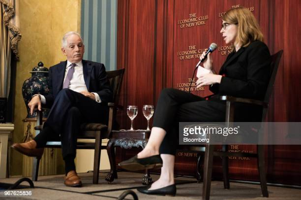Steven Corwin president and chief executive officer of New YorkPresbyterian Hospital left listens during an Economic Club of New York event in New...