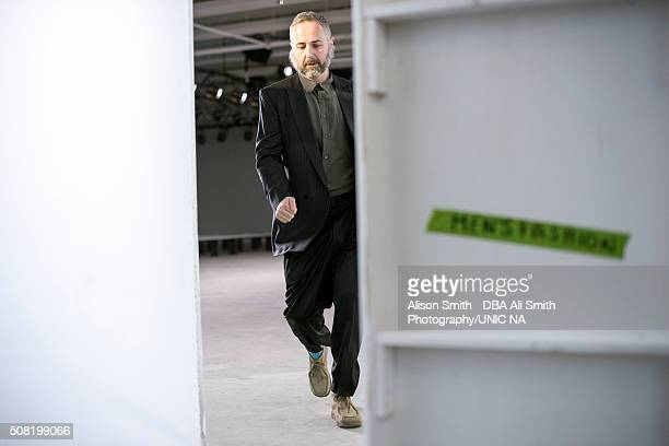 Steven Cox, of Duckie Brown, helps manage rehearsal for the Duckie Brow show during New York Fashion Week Men's Fall/Winter 2016 at Skylight at...