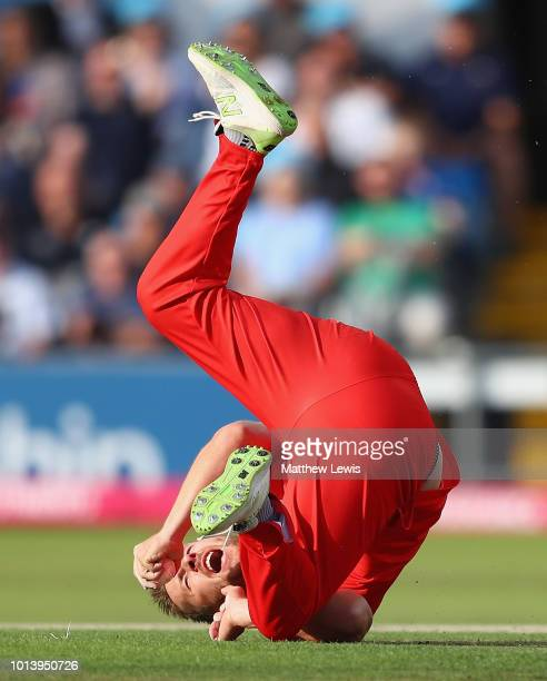 Steven Croft of Lancashire celebrates catching Adam Lyth of Yorkshire off his own bowling during the Vitality Blast match between Yorkshire Vikings...