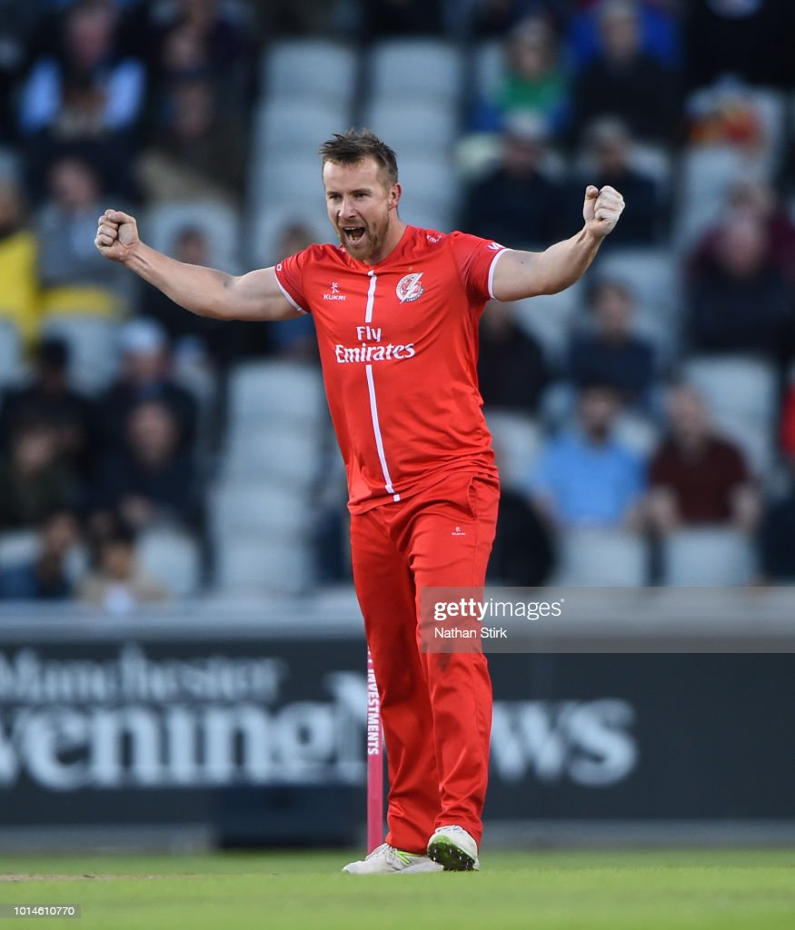 Steven Croft of Lancashire celebrates getting a wicket during the Vitality Blast match between Lancashire Lightning and Birmingham Bears at Old Trafford on August 10, 2018 in Manchester, England.