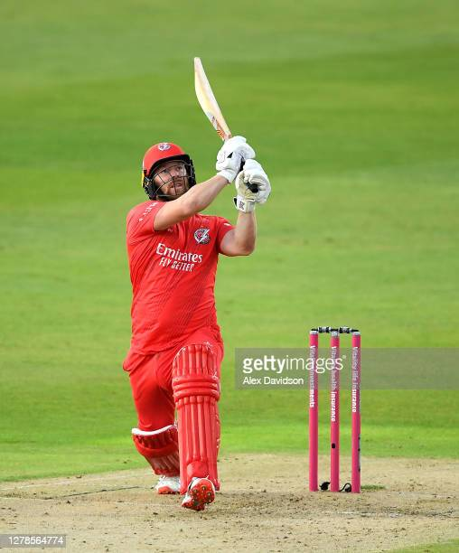 Steven Croft of Lancashire hits out during the Vitality T20 Blast Semi Final between Notts Outlaws and Lancashire Lightning at Edgbaston on October...