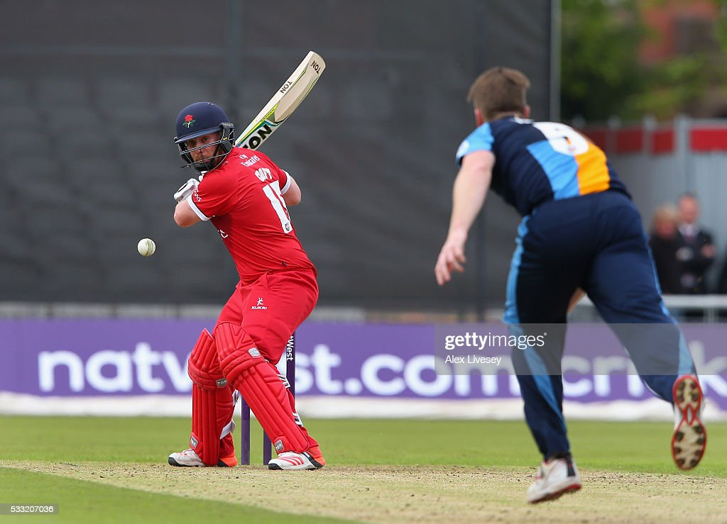 Steven Croft of Lancashire in action during the NatWest T20 Blast between Lancashire and Derbyshire at Old Trafford on May 21, 2016 in Manchester, England.