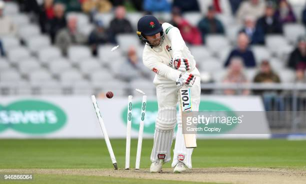 Steven Croft of Lancashire is bowled by Jake Ball of Nottinghamshire during the four day of Specsavers County Championship Division One match between...